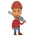 lumberer with a chain saw vector image vector image