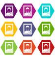 memory portrait icon set color hexahedron vector image vector image