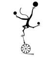 monkey on the unicycle juggles the balls vector image