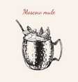 moscow mule hand drawn drink vector image vector image