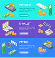payment methods banner horizontal set isometric vector image