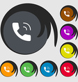 Phone icon sign Symbols on eight colored buttons vector image vector image