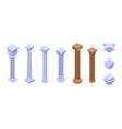 pillar icons set isometric style