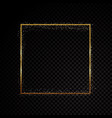 rectangle sparkle golden frame isolated on black vector image vector image