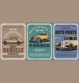 retro car and auto vintage vehicle spare parts vector image vector image