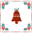 retro holiday card with a bell and winter berry on vector image