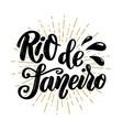 rio de janeiro hand drawn lettering phrase vector image