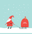 santa claus carrying a big sack of gifts on sled vector image vector image