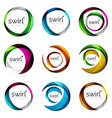 set of swirl circles abstract icons circle vector image