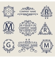 Set ornamental emblems company logos vector image