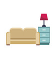 sofa and drawer with light vector image