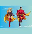 superhero couple flying in sky vector image