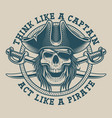 t-shirt design with a pirate skull and saber vector image vector image