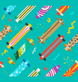 Various Longboards Diagonal Seamless Pattern vector image vector image