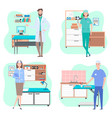 veterinarian in office in vet clinic woman and vector image vector image