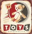 Vintage toy store metal sign vector image