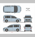 vw caddy life passenger van 2015-present vector image vector image