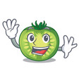 waving green tomato slices on character plates vector image vector image
