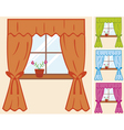 window with curtain and flower in pot vector image