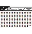set 207 country flag christmas ball vector image