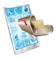 letter mailbox flying out of phone screen concept vector image
