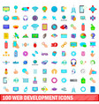 100 web development icons set cartoon style vector image vector image