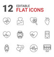 12 heartbeat icons vector image vector image