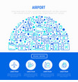 airport concept in half circle with thin line icon vector image vector image