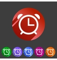 Alarm clock watch icon flat web sign symbol logo vector image