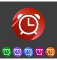 Alarm clock watch icon flat web sign symbol logo vector image vector image