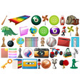 assorted office school and toy equipment isolated vector image vector image