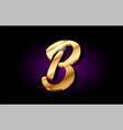 b alphabet letter golden 3d logo icon design