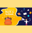 back to school banner with backpack and school vector image vector image