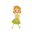 beautiful cartoon girl character in charming dress vector image