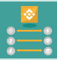blockchain binance - cryptocurrency exchange vector image