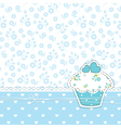 Blue background with cupcake vector image vector image
