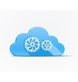 Blue cloud with gears vector image vector image