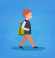 boy pupil walking to school schoolboy small vector image vector image