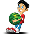 Boy with a watermelon vector image
