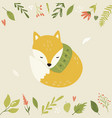 bright floral card with cute fox in a scarf vector image