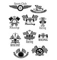 car or sport motor racing club icons set vector image