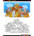 cats and dogs characters color book vector image