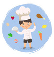 chef boy cooking food cartoon vector image
