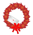 Christmas Wreath of Red Maple Leaves and Envelope vector image vector image