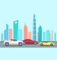 cityscape with highway and traffic automobiles vector image