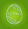 easter egg with flowers for greeting card vector image vector image