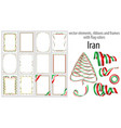 elements ribbons and frames with flag colors iran vector image