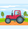 farmer rides red agricultural machine cultivating vector image