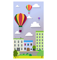 Flat design of the city street and air balloons vector image vector image