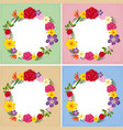 four frames template with colorful flowers vector image